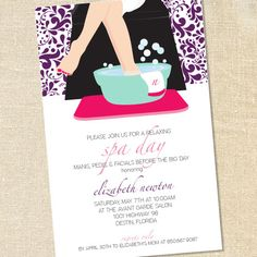 Spa Pedicure Invitations for Spa Days, Girls Night Out & Bridal Parties & Shower by Sweet Wishes Stationery