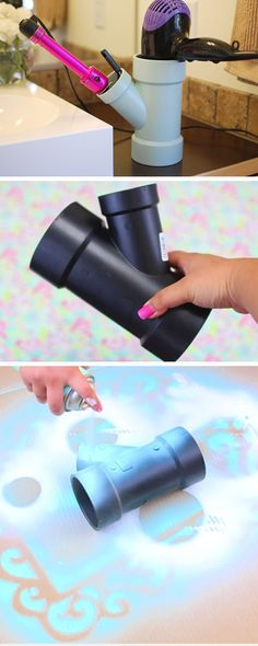 Hair Tool Holder | 25 DIY Beauty Hacks Every Girl Should Know | Easy Bathroom Organization Hacks Dollar Stores