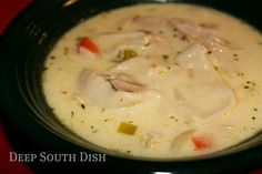 Chicken Dumplin' Soup - A creamy chicken soup that uses strips of flour tortillas as a dumpling, or easy to substitute canned biscuits or dumpling dough. (Chicken Stew With Biscuits) Chicken Dumpling Soup, Dumplings For Soup, Chicken Soup, Dumpling Dough, Cooked Chicken, Chicken Base, Chowder Recipes, Soup Recipes, Chicken Recipes
