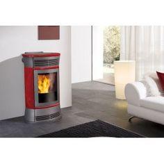 Stufa a pellet Edilkamin - Cherie rossa 11 kw Pellet Stove, Home Appliances, Wood, Design, Wood Oven, Ovens, Fuel Saver, Combustion Chamber, Hourglass