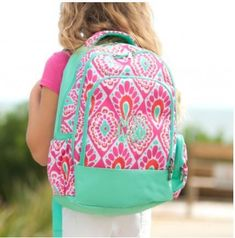 9b93db992a8b Pink Personalized Backpack for Girls Featuring Her Name or Monogram  Monogram Backpack
