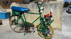 """Published on 19 Apr 2016 I've made this chain front wheel drive bicycle, from used bicycle parts, and leftover scrap material. Frame is a 26'' 1950 stay handlebar brakes, rear wheel is a 26"""" C clamp brake, seat is a motorcycle, supported on used old iron water pipes, under the seat I've done a helmet storage box, made from scrap washing machine panels, rear mudguard, pedals, chain sprocket, and chain are from other used bikes. I've done a center stand, from water pipes. Now let's look at the…"""