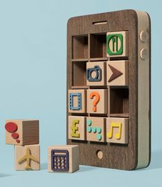 Wooden toy iPhone