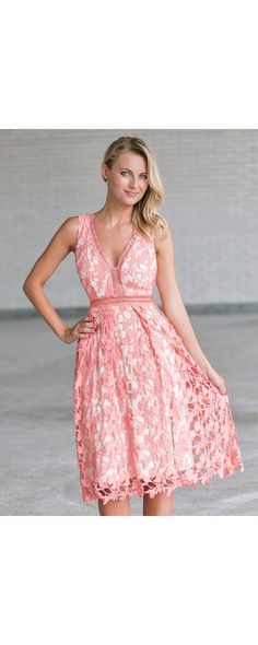 Lily Boutique In The Loop Crochet Lace Midi Dress in Coral Pink 98f6acc56