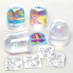 Inkleursneeuwbollen met zeemeermin die kinderen kunnen ontwerpen, kleuren en neerzetten – creatieve zomerknutselset voor kinderen (doos van 4)