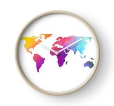 'Colorful World Map Design' Clock by sagetypo World Map Design, Quartz Clock Mechanism, Hand Coloring, Colorful, Frame, Prints, Picture Frame, Printed, Frames