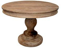 Round Wood Pedestal Table