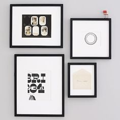 Black frames $25-$45 each/pck 4 http://www.westelm.com/products/gallery-frames-black-d477/?pkey=cpicture-frames%7C%7C