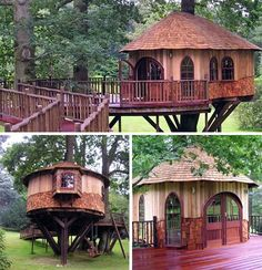 """20 Tree House Pictures: Play-Club Plans to Big-Kid Houses.yeah """"Big-Kid"""" that's me! Yurt Living, Outdoor Living, Outdoor Spaces, Kids House, My House, Cool Tree Houses, Tree House Designs, Castle In The Sky, Little Houses"""
