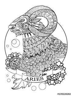 Aries zodiac sign coloring page for adults | Fotolia 139228282