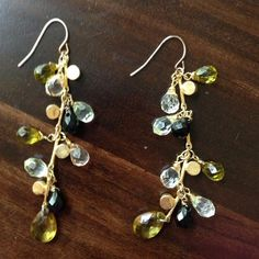 """Gorgeous multi color drop earrings! Gorgeous, fun, dangly earrings from Nordstrom. Multi colored stones (green, black, clear, and light peach).  Strip of gems measures 2.5"""" plus the ear piece. Jewelry Earrings"""