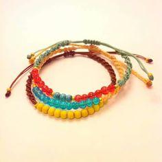 Colorful macrame bracelets #my_armcandy Friendship Bracelets Designs, Bracelet Designs, Macrame Bracelets, Knots, Colorful, Patterns, Stuff To Buy, Jewelry, Block Prints