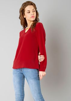 65c3498ca23afc Metal Bar Blouse - Red  FabAlley  Fashion  RedBlouse  Blouse