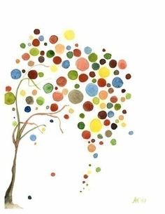 Tree Art Retro Falling Print Watercolour Wall by jellybeans, $15.50