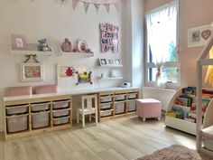 Our daughter's room – play area / office - kids playroom - Kinderzimmer Ikea Playroom, Ikea Kids Room, Playroom Storage, Playroom Design, Kids Room Design, Kids Bedroom, Ikea Storage, Ikea Kids Desk, Kid Desk