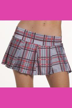 Grey Pleated Plaid School Girl Skirt