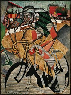 "guggenheim-art: "" At the Cycle-Race Track by Jean Metzinger, Guggenheim Museum Size: cm Medium: Oil and collage on canvas The Solomon R. Guggenheim Foundation Peggy Guggenheim Collection, Venice, 1976 © 2016 Artists Rights Society. Peggy Guggenheim, Guggenheim Bilbao, Georges Braque, Pablo Picasso, Cubist Artists, Umberto Boccioni, Italian Futurism, Futurism Art, Museums In Nyc"