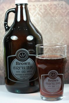 Personalized Home Brew set with Growler & nonic lager glass featuring Classy Label by GlassBlastedHomeBrew, $40.00