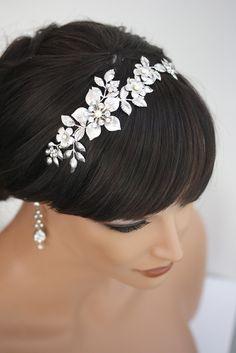 Um, wow, this must be the most beautiful headpiece ive seen so far. Bridal Headband, Wedding Hair Accessories, Flower Headband with pearl and rhinestone, Vintage wedding  LISSE Headband. $160.00, via Etsy.