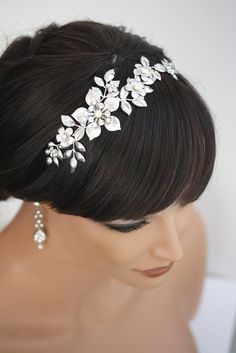 Bridal Headband, Wedding Hair Accessories, Flower Headband with pearl and rhinestone, Vintage wedding  LISSE Headband. $160.00, via Etsy.