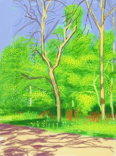 The Arrival of Spring in Woldgate, East Yorkshire in 2011 (twenty eleven) - 27 April by David Hockney David Hockney Ipad, David Hockney Art, David Hockney Paintings, David Hockney Landscapes, Pop Art Movement, Tree Sketches, Ipad Art, Painting Wallpaper, Landscaping