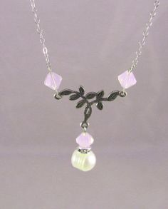 Rosewater Opal & Pearl Twig Necklace by deblane144 on Etsy, $24.00