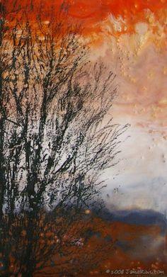 "Jamie Ribisi | Sunset No. 1 | encaustic, image transfer and oil pastel on panel, 8""xl0"" /sm"