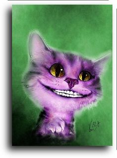 """Alice in Wonderland Cheshire Cat, art card, signed ACEO w/ COA, Limited Edition"" by SportsArtShop"