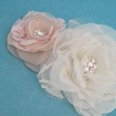 Wedding hair flower set Blush Pink Organza Lace by HARTfeltart, $35.00