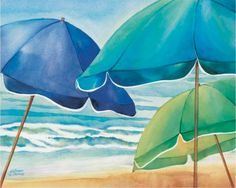 Global Gallery 'Seaside Umbrellas' by Kathleen Denis Painting Print on Wrapped Canvas Size: Umbrella Painting, Umbrella Art, Beach Umbrella, Painting Frames, Painting Prints, Painting & Drawing, Fine Art Prints, Beach Paintings, Artwork Paintings
