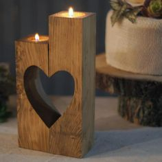 Reclaimed Wood Heart Cut-Out Candle Holder-Wedding-GFT Woodcraft