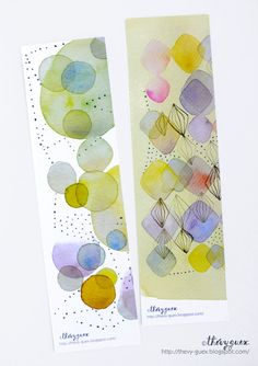 Gelbe Multicolor abstrakt geometrische Blase Dot Rhombus Aquarell Illustration Kunstdruck Bookmarks