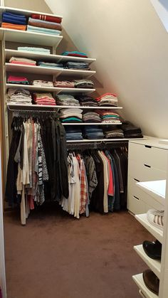 Mar 2020 - Unser neues Ankleidezimmer DIY Ikea Selbermachen Regale Schrank Room Idee Our new dressing room DIY Ikea DIY shelves closet room idea # Walkable organize Closet Ikea, Attic Closet, Closet Bedroom, Bedroom Decor, Bedroom Suites, Ikea Bedroom, Closet Curtains, Bedroom Furniture, Closet Doors