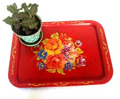 The Perfect Vintage Garden Tray //  1940s Red Tin  Handpainted Toile Tray // Rusty Shabby Chic // Boho