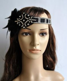 Black Vintage Inspired Headband The Great by BlueSkyHorizons