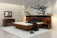 décoration asiatique stylée dans une chambre à coucher moderne