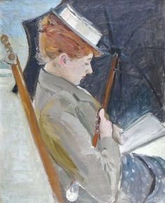 reading by the sea. Paul Cesar Helleu (French artist, 1859-1927)