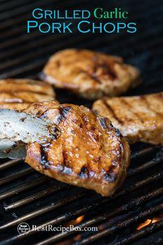 Best grilled pork chop recipe that's juicy and tender! Garlic marinade makes pork chops easy grilling. Recipe for grilled pork chops can be pork loin chops Pork Rib Recipes, Garlic Recipes, Grilling Recipes, Cooking Recipes, Cooking Time, Grilling Ideas, Kitchen Recipes, Yummy Recipes, Kabob Recipes