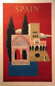 Spain travel poster, 1950, Villemot #TravelEuropeIllustration