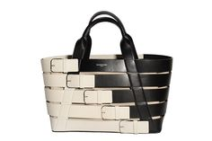 Best of Resort 2016 - Balenciaga wide, woven, black, and white leather tote with buckles