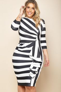 A plus size midi bodycon dress with a round neckline and sleeves. Features  a cinched waist and a ruffled trim. Black and white stripes all over.