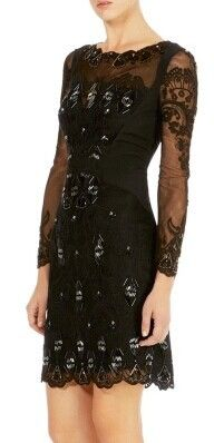 Black Jacquard Floral Long Sleeve Hem Pencil Designer Dress - ShopGalaxie