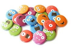 Monster Party Favors - Set of 20 Pinback Buttons - Colorful Monster Buttons. $7.50, via Etsy.
