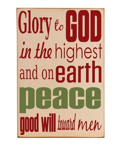 Take a look at this Vinyl Crafts Cream & Red 'Glory To God' Wall Plaque by Home for the Holidays: Décor on #zulily today!