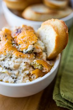 Gooey 'n' Bubbly Broccoli & Cheddar-Parmesan Dip with Garlic Crostini