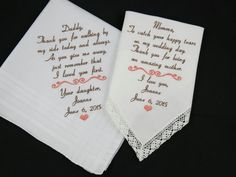 Mom Dad Embroidered Wedding Hankerchiefs by NapaEmbroidery on Etsy