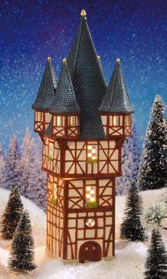 """Lichthaus """"Brömser-Turm"""" aus Rüdesheim, Miniatur Lichthäuser Weihnachtsdeko, Fachwerkturm aus Keramik, Höhe 34 cm"""