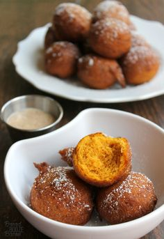 Pumpkin Fritters are the best fall breakfast bite, especially with some cinnamon sugar cream cheese dip! #12Bloggers
