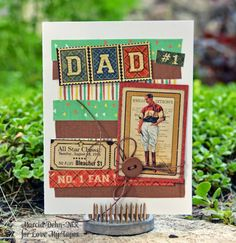 Father's Day card with Graphic 45 Good Ol' Sport papers and stickers and Fabric Tape from Love My Tapes.