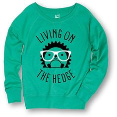 Living On The Hedge Hedgehog with Glasses - Ladies Slouchy Pullover Sweatshirt USA Screen Print Direct http://www.amazon.com/dp/B018REUFH8/ref=cm_sw_r_pi_dp_odWOwb0QBZZH1
